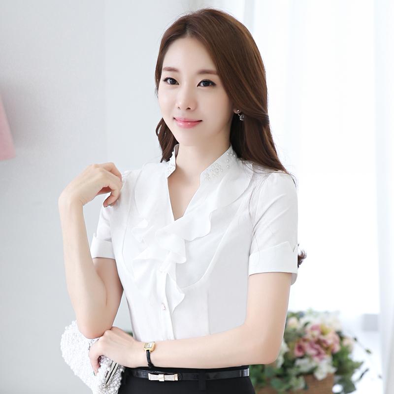Elegant Spring Brand Elegant Blouse Shirt Women Office Long Blouses Tops Woman