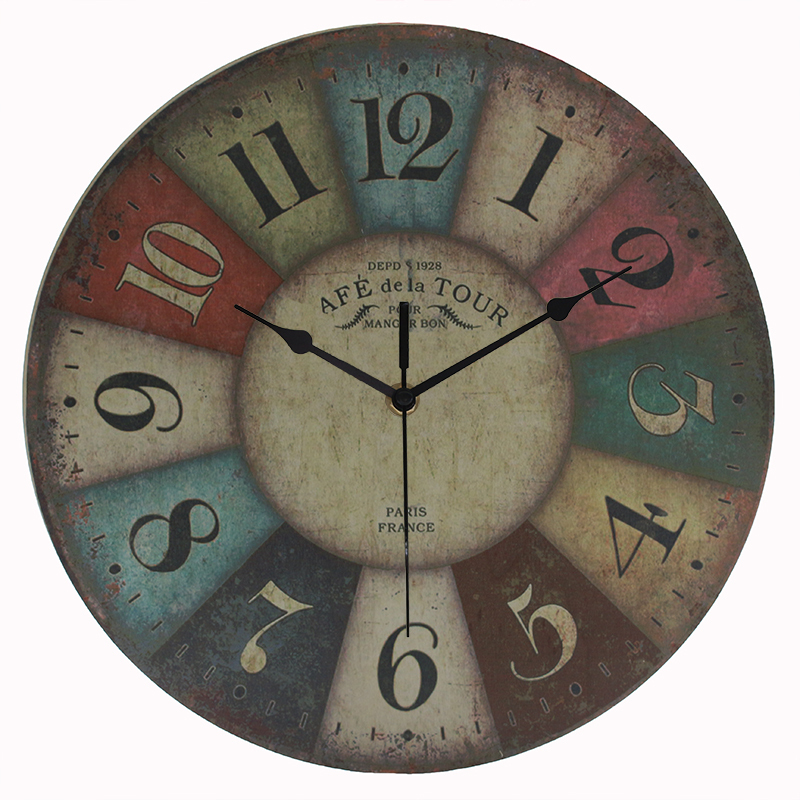 New Arrival antique 12 numbers circle wall clock MDF printed designs hanging clock(China (Mainland))