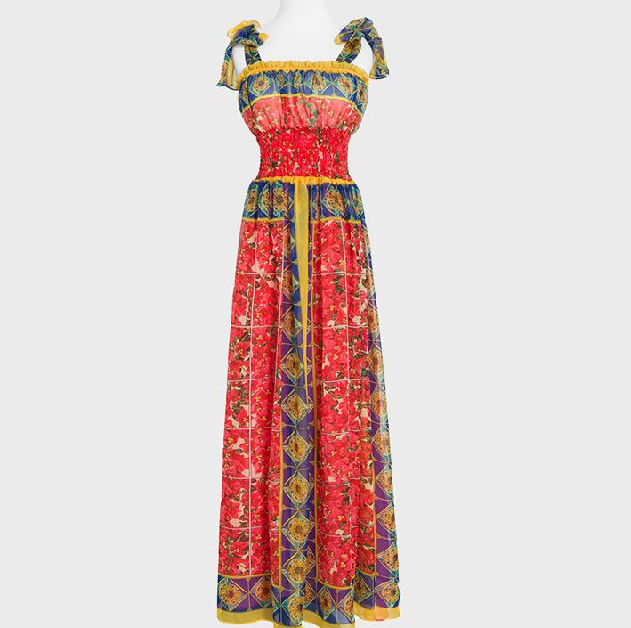 New 2015 women summer runway fashion Dresses elegant Abstract Prints spaghetti strap designer dress tank casual midi Dress D3736