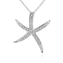 Buy Silver Color Necklace Starfish Pendant Crystal Snake Chain Fashion Hot Jewellery Wholesale Sea Star Women Jewelry Fine Gift ) for $2.38 in AliExpress store