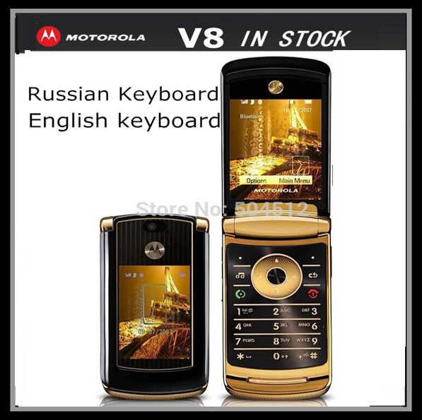 Original Motorola RAZR2 V8 mobile phone v8 cell phone 2GB Storage Russia keyboard Support 4 Colors In Stock One Year Warranty(China (Mainland))