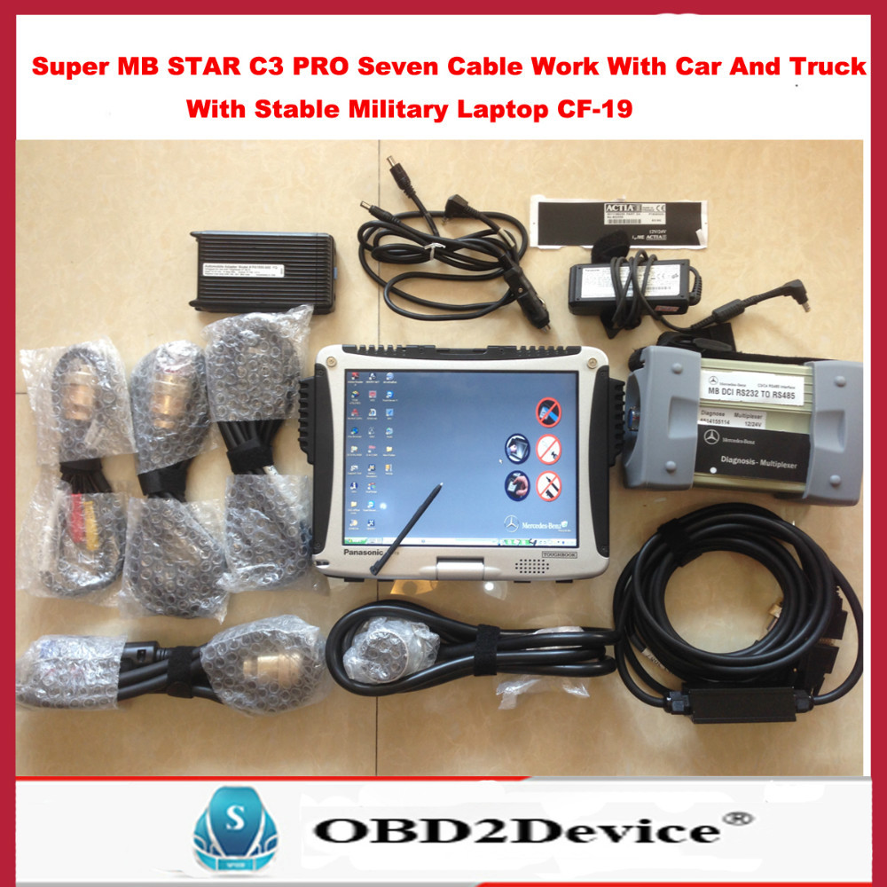 Best Quality Super Mb Star c3 with 7 cables +Panasonic CF-19 Military Laptop Warranty 3 Years Free Gift automobile Adapter Model(China (Mainland))