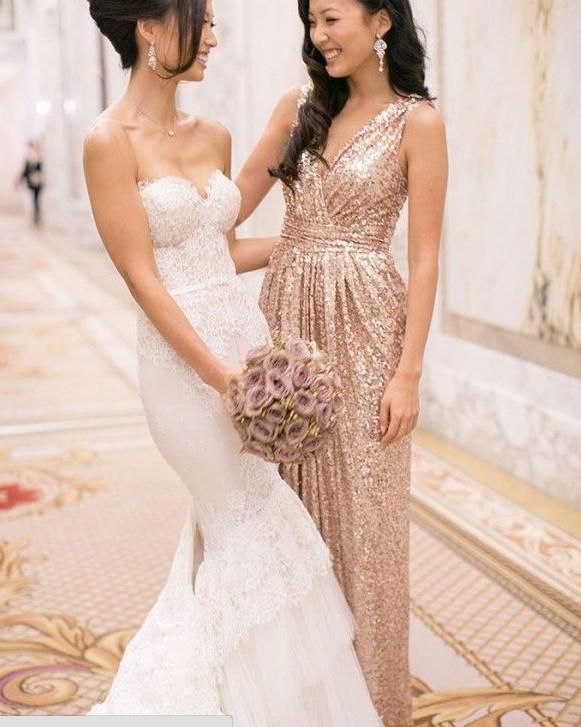 2015 Rose Gold Sequins Bridesmaid Dresses V Neck A Line Floor Length Gold Bling Long Plus