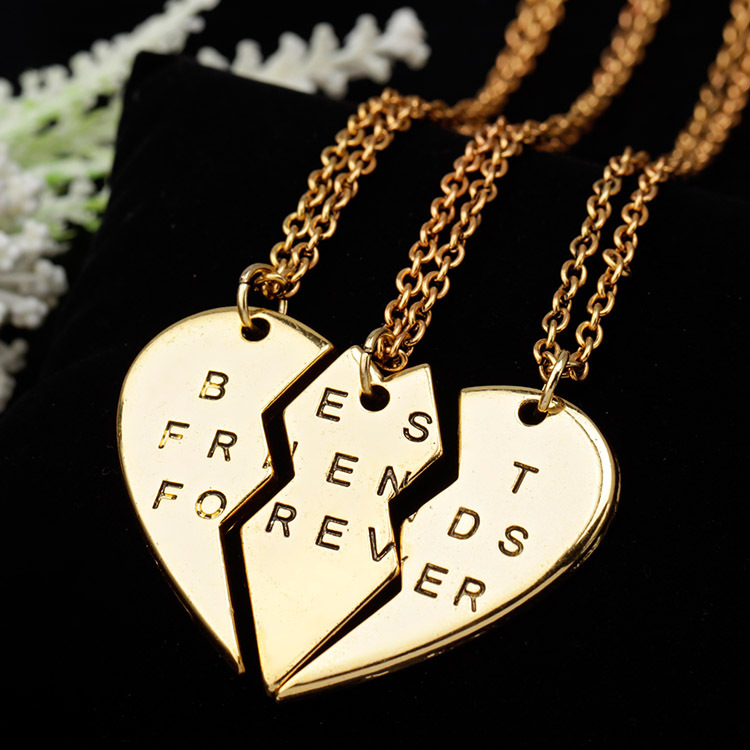 New collier choker necklace heart pendant pieces broken three best friend forever necklace women necklace jewelry collares mujer(China (Mainland))