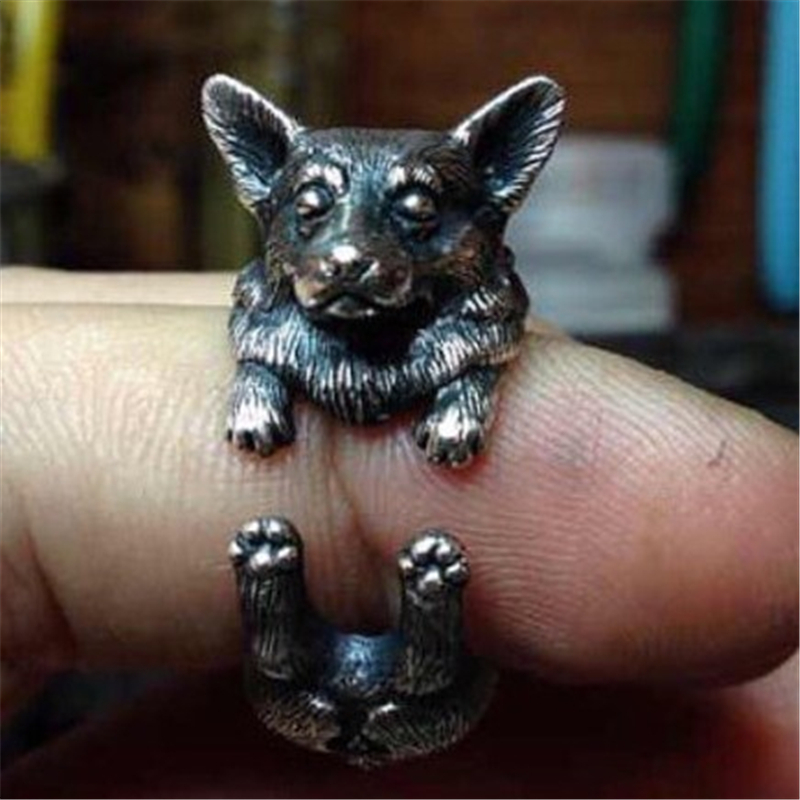 Pembroke Welsh Corgi vintage Ring Hippie Anillos Wrap Brass Knuckle English Dog Anel Feminino Ringsdog ring jewelry in rings 10(China (Mainland))