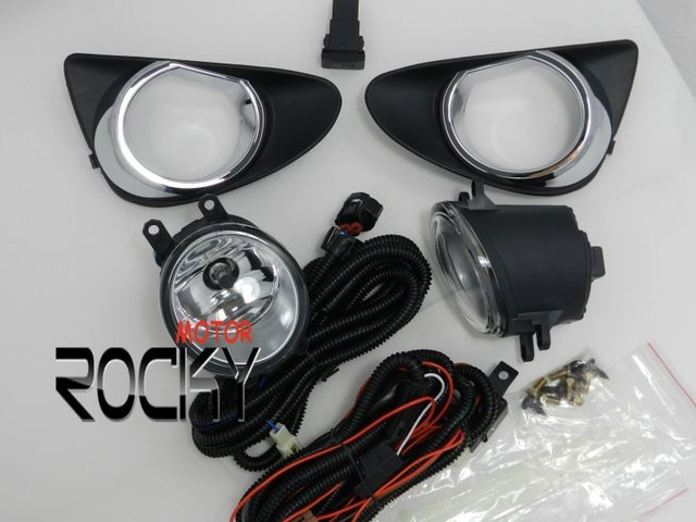 NEW Fog Light Kit for 2012 Toyota Yaris High Quality Comes with Switch+Wireharness Chrome Cover/Brackets Warranty CARWAY Brand
