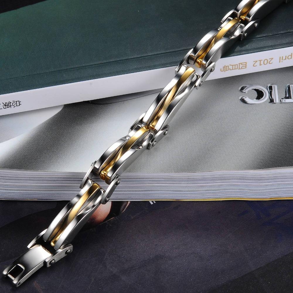 OPK JEWELRY Punk Rock Heavy Metal Bracelet Silver Golden texture Stainless Steel Infinity Link Chain Bracelet