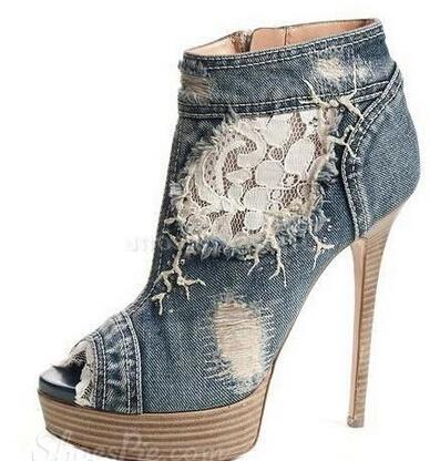 Fashionable Denim Peep-toe Ankle Boots Brand Platform Women Booties High Heel Summer Sandal Boots(China (Mainland))