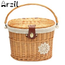 Wicker Willow Bicycle Front Basket Handcraft Washable Linen with Lid Waterproof Handle Linen Outdoor Picnic 13.7''x11''x9.4 ''(China (Mainland))