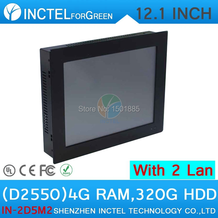 Cheap Industrial-grade desktop pc embedded all in one pc computer with 12 inch 2 1000M Nics 2COM 4G RAM 320G HDD(China (Mainland))