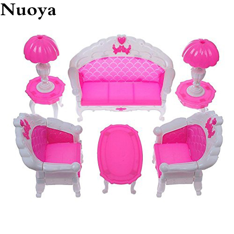 6Pcs/ Pack Dollhouse Furniture Living Room Parlour Sofa Chair Set Plastic for Barbie Acessorios Furniture for Dolls