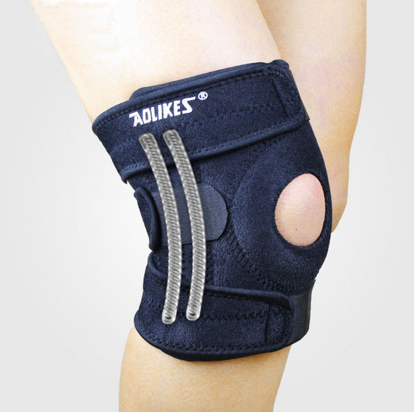 4 Spring Support Adjustable Sports Knee Pads Football Basketball Volleyball Leg Knee Support Brace Patella Guard Protector Pads(China (Mainland))