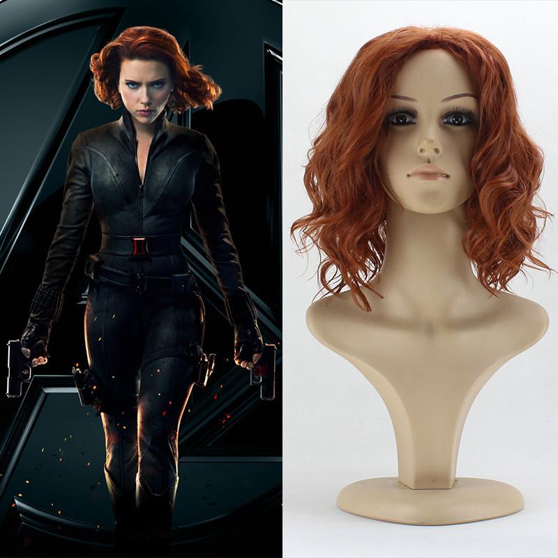 FREE SHIPPING The Avengers Natasha Romanoff Black Widow Short Curly Hair Auburn Cosplay Wig Movie Cosplay Wig 028(China (Mainland))