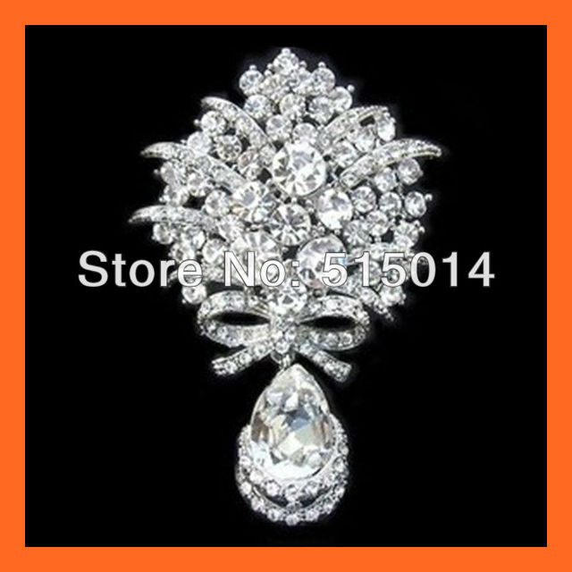 Free Shipping ! Waterdrop Crystal Rhinestone Embellishments,Rhinestone Bouquet Pins ,Accessories Pin,Rhinestone Brooch Pin