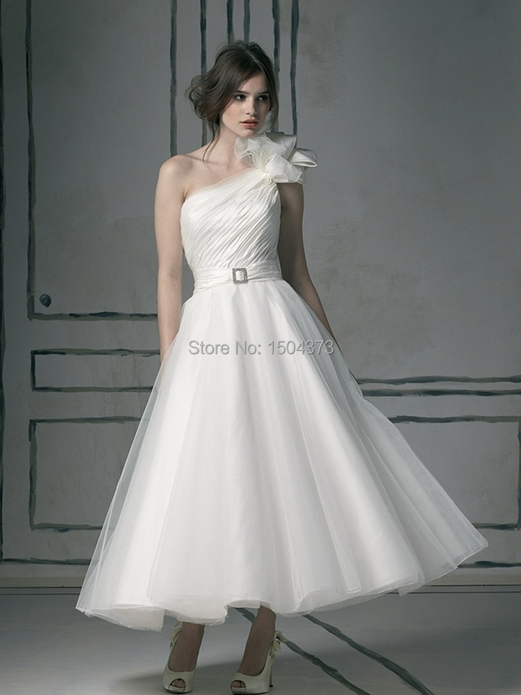 tea length wedding dresses one shoulder sleeveless zipper