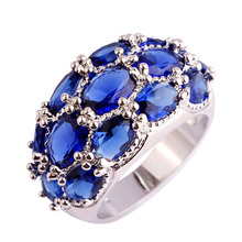 Luxuriant Bohemia Style Jewelry Oval Cut Blue Sapphire Quartz 925 Silver Ring Size 7 8 9 10 11 12 13  Wholesale Free Shipping