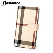 Buy Bostanten Men's Plaid Business Name Bank Credit Card ID Card Holder Case Bag Wallet Holder Woman Large Capacity England Style for $11.99 in AliExpress store