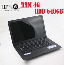 Cheap 13.3 Inch Laptop Notebook computer, 4GB RAM+640GB HDD, Intel Atom N2600 D2500 Dual Core WIFI Webcam Windows 7 Ultimate
