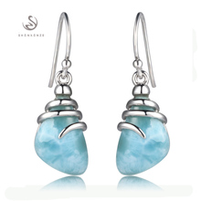 925 sterling silver Larimar Earrings Shinning S–3804 Explosion fashions The brand new product Noble Beneficiant Advocate Promotion Fashionable