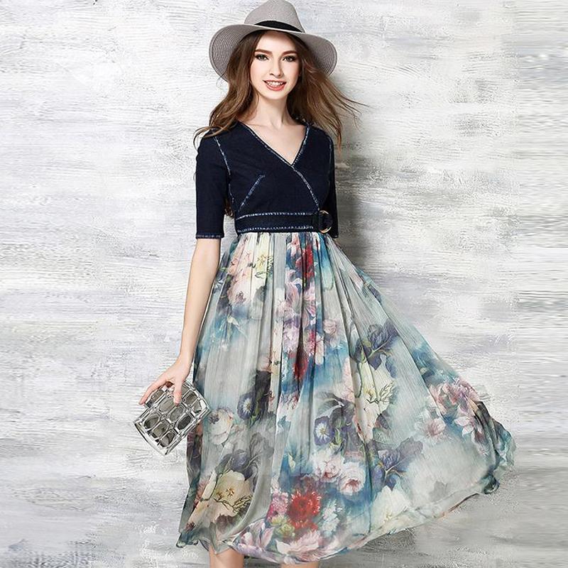 Women Dress 2016 summer High quality Dresses Women brand Clothing Party Vestidos Wave Pattern Denim patchwork Vestido Dress(China (Mainland))