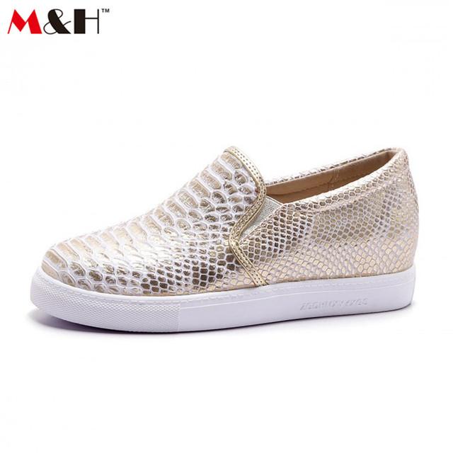 M и H змея-принт плоские ботинки женщин бездельников комфорт мокасин роковой туфли ...
