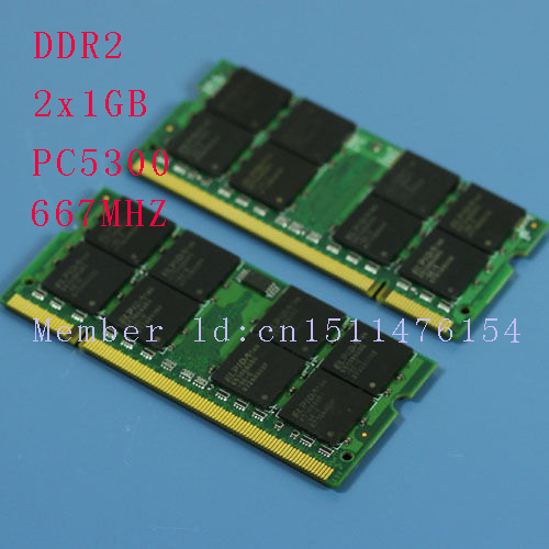 New 2GB 2x1GB PC2-5300S DDR2-667 667 MHz 200pin DDR2 memory Laptop 1G PC2 5300 667 Notebook model SODIMM RAM pengiriman gratis(China (Mainland))