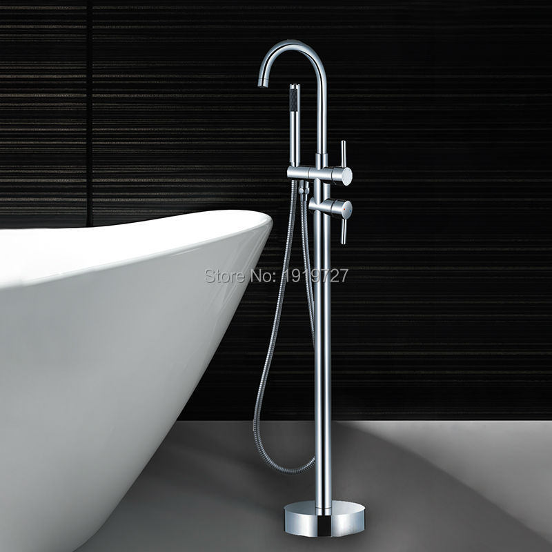 Bathroom Luxury Brass Mixer Chrome Standing Faucet With Hand Shower Floor Mount Bathtub Tap(China (Mainland))