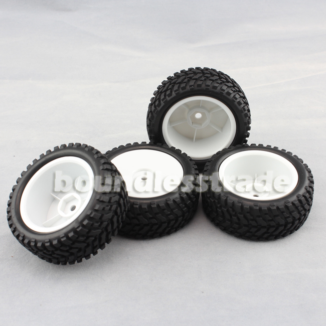 OPHIR 4pcs NEW 1/10 White Rally 4WD 1/16 Rally Tires Rims and Wheels_SP107-4x(China (Mainland))