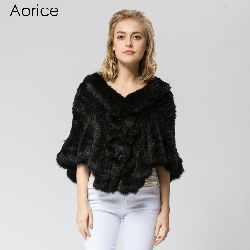 SRR006-3 Real Knitted rabbit Fur Shawl poncho stole shrug cape robe tippet wrap women's winter warm coat/outwear(China (Mainland))