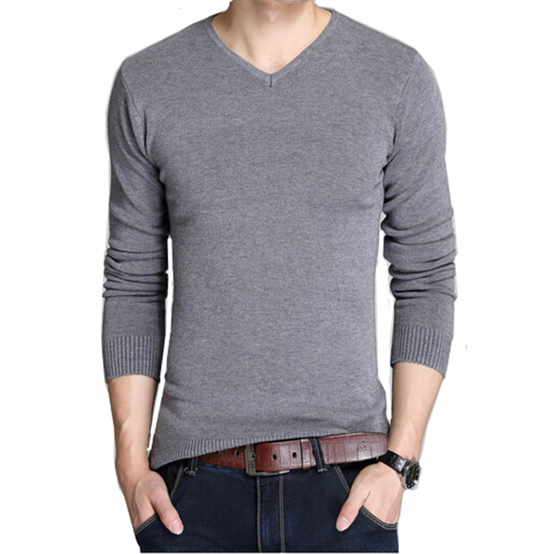 2016 men's boutique autumn slim fit leisure pure cotton knitted sweater/Male v-neck quality fashion pure color knit shirt(China (Mainland))