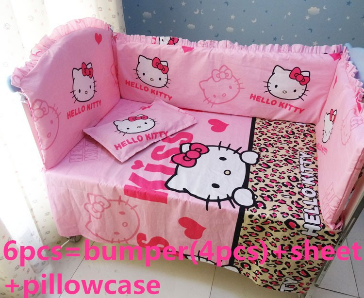 Promotion! 6PCS Hello Kitty Baby Crib Bumper Sets,Baby Girl Crib Bedding Set,Baby Bedding,include(bumpers+sheet+pillow cover)<br><br>Aliexpress