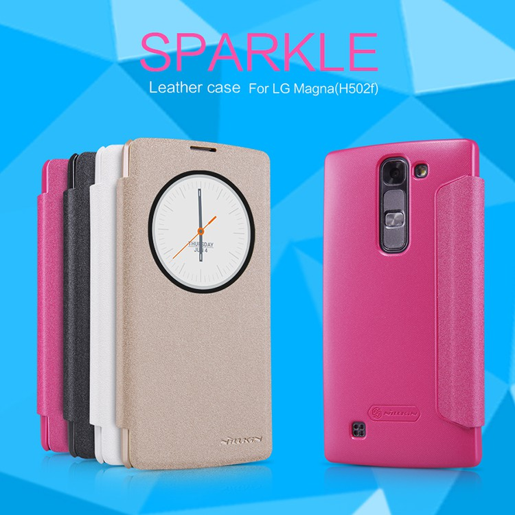 Original Nillkin Sparkle Series Leather Case ultra-thin Wallet Flip Cover For LG Magna C90 H520N H502F Cases mobile phone cover(China (Mainland))