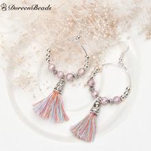 DoreenBeads Handmade Earring Drop Loop beaded silver plated purple Tassel Pendant earrings 7.8x3.2cm 1 pair 2016 New fashion(China (Mainland))