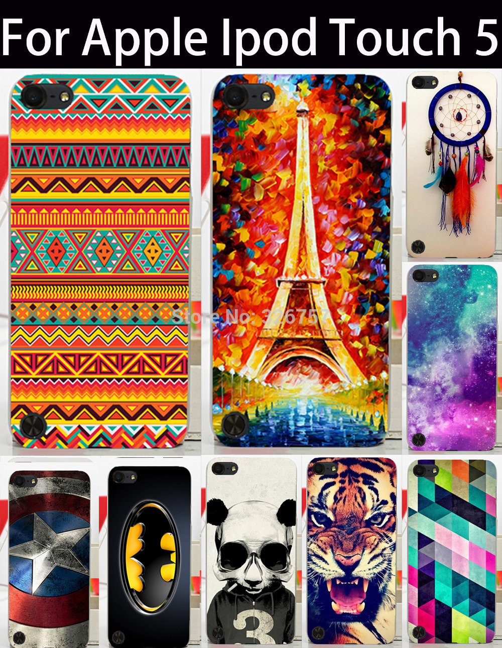 Eiffel Tower Tiger Panda Painted Cases For Apple iPod Touch 5 Covers 5th 5G Touch 6 6th touch5 touch6 Housing Bags Skin Shell(China (Mainland))