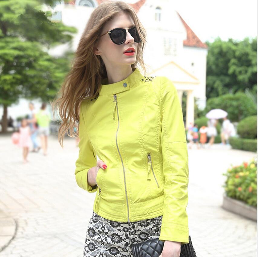 2016 Europe America style women Slim-fitting genuine leather jacket coat Women Motorcycle short Yellow leather jackets size S-XL(China (Mainland))