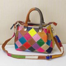 Hot Fashion Brand Colorful Genuine Leather Bags Women Diamond Lattice Patchwork Handbag Cowhide Leather Shoulder Messenger Bag