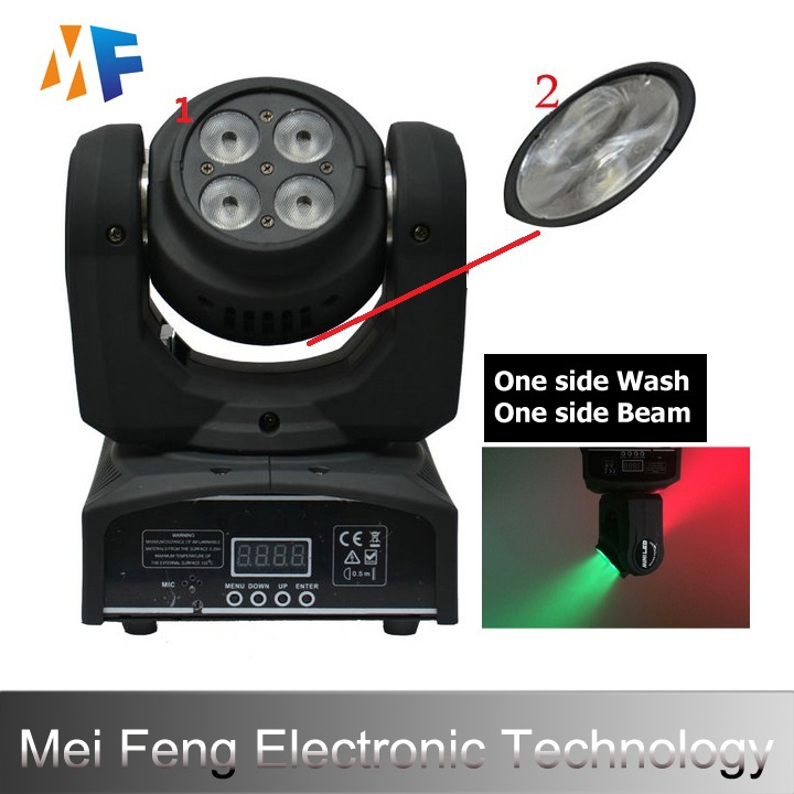 New Two Side Led Beam Wash Light 1*10w And 4*10w RGBW Disco Bar KTV Dj Show Led Moving Head Stage Lights Free Shipping(China (Mainland))