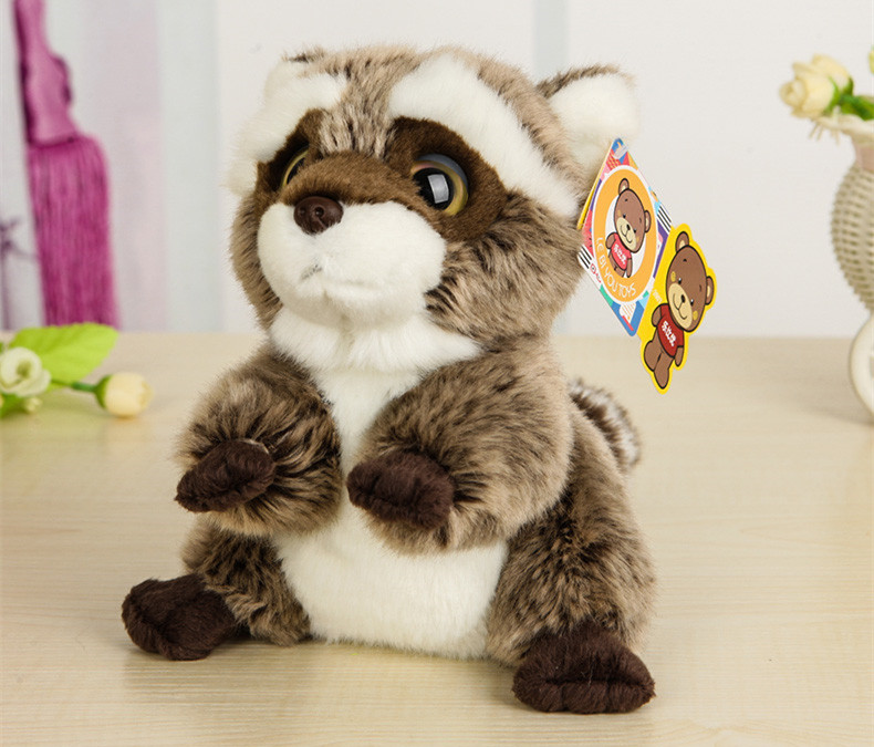 Free Shipping 18CM Lovely Small Racoon Plush Toys Dolls Stuffed Animal Toys For Children Kids Toys Christmas & Birthday Gifts(China (Mainland))