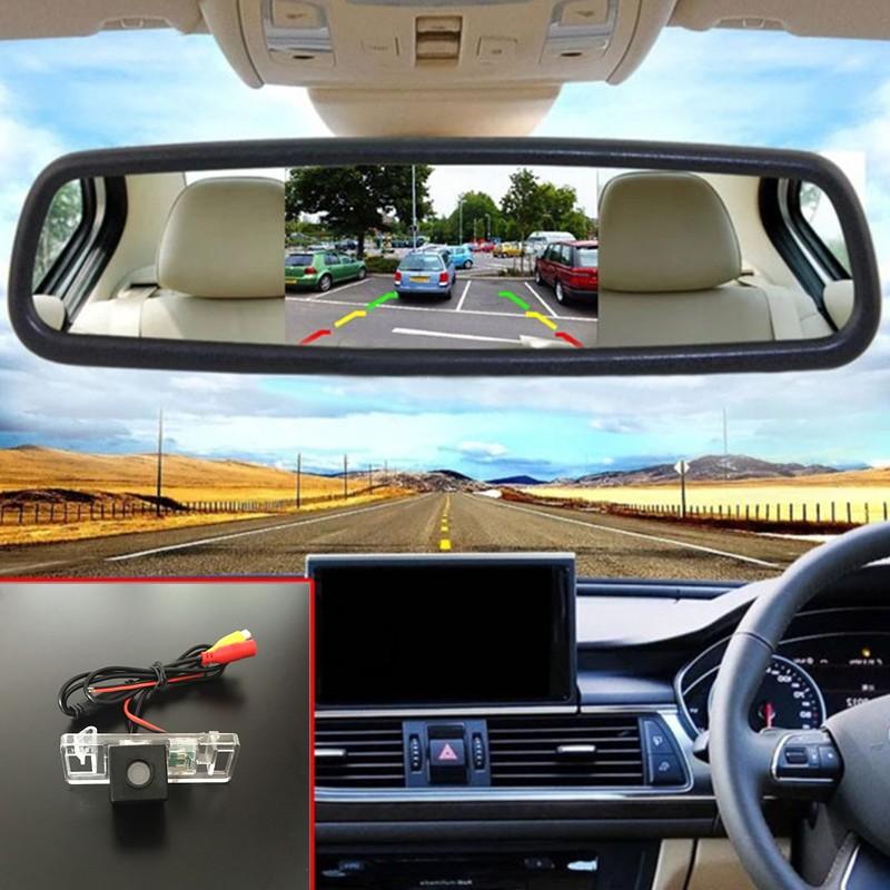 CCD Night Vision Car Reverse Parking Camera + 5'' TFT LCD Screen Rearview Car Mirror Monitor Citroen C6 4D Sedan 2005~2012