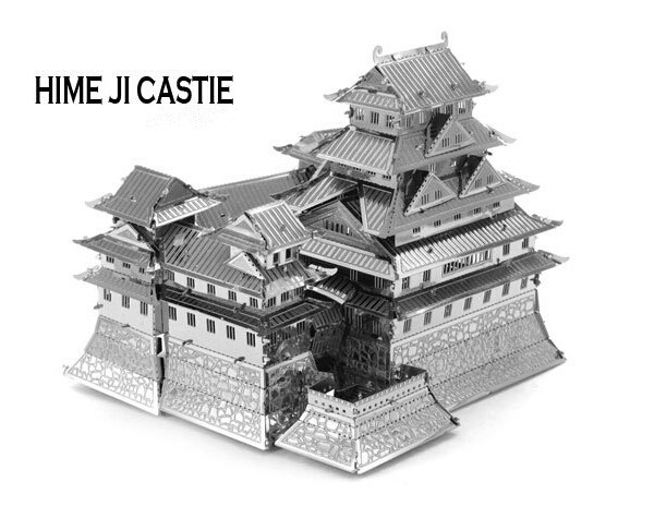 Himeji Castle Miniature 3D Puzzle Metal Model Building Kits Puzzle Educational Toys for Children,Free Shipping(China (Mainland))
