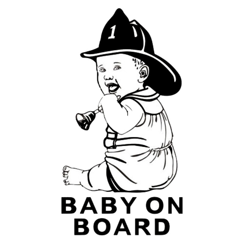 10*18.6CM BABY ON BOARD Vinyl Cartoon Decal Little Cowboy Shake Bell Car Styling Stickers Black/Silver C9-0019(China (Mainland))