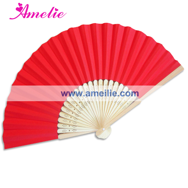 50Piece/Lot Wholesale Red Paper Party Decoration Wedding Personalized Gifts For Guests Customized Paper Fan For Wedding(China (Mainland))
