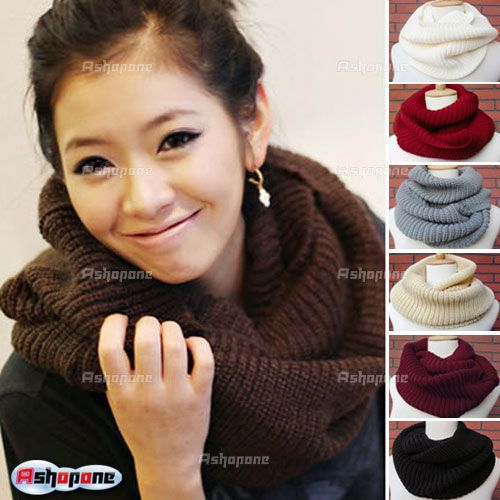 2015 Women Winter Warm Infinity 2 Circle Cable Knit Cowl Neck Long Scarf Shawl 7 Color(China (Mainland))