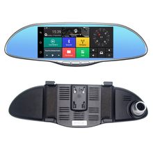 "Buy 7"" IPS Touch 3G WCDMA Car DVR Camera Video Recorder Android 5.0 GPS Navi Bluetooth FM WIFI Dual Lens Rearview Mirror Camcorder for $112.14 in AliExpress store"