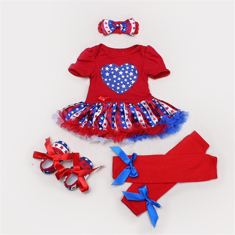 Baby Dress Little Girl 2016 Summer Cotton Clothing Set Red Romper American Flag Kids Outfits Suit Ruffles Dress Newborn Clothes(China (Mainland))