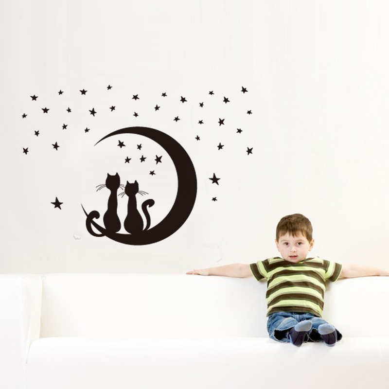 Buy cat mooncartoon diy vinyl wall for Sticker para decorar dormitorios
