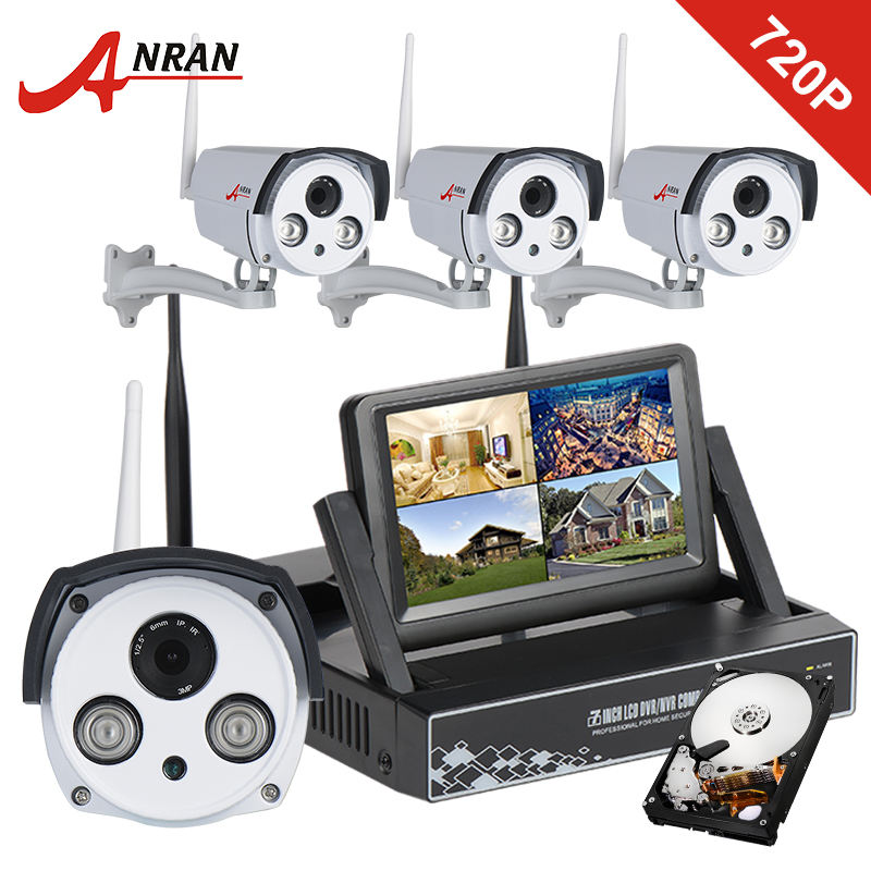 "7"" LCD Screen Wireless Wifi Surveillance NVR Kits 720P HD Camera Outdoor Waterproof Security Plug and Play CCTV System 1TB HDD(China (Mainland))"