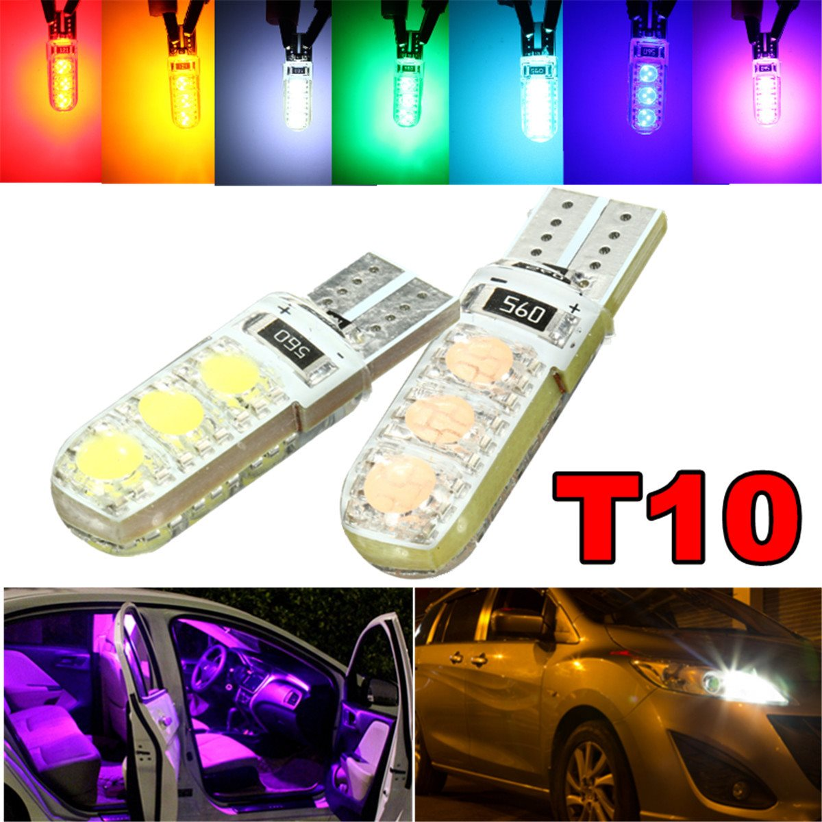 T10 194 501 W5W Motorcycle Car Silicone LED Side License Plate Light Wedge Lamp Pink Green Ice Blue Red Yellow White(China (Mainland))