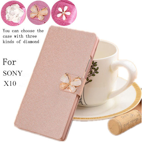 For Sony Xperia X10 X10i case, flip PU leather cover for sony X10 phone case luxury case with diamondsson(China (Mainland))