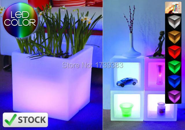 Waterproof Colorful H40cm SLIDE OPEN CUBE LED glow Ice Bucket Square Flower Pot Planter multipurpose cubic Pot LIGHT WIRELESS(China (Mainland))